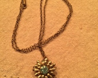 Lustern Vintage Goldplated Pin/Necklace with a Blue Jewel