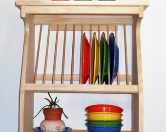 Plate Rack Solid Wood Pine Dishes