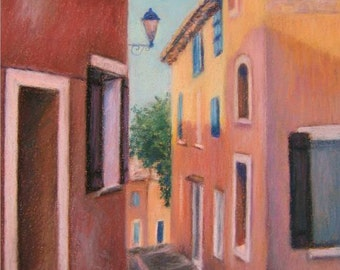 PROVENCE Village of ROUSSILLON, FRANCE in original pastel painting 16 x 12 by Sharon Weiss