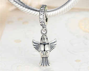 Silver charms Authentic Sterling Silver flying bird charm beads perfect fit for pandora and troll or european bracelets