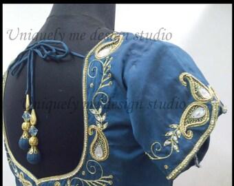 handmade maggam/aari work embroidered silk bloue