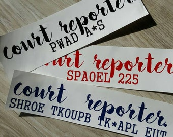 court reporter. *with options* Choose Color at Checkout!