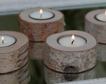 Set of 10 birch candle holders, log candle holders, tea light stand, rustic wedding decor,  wedding favors, chabby chic wedding decor.