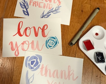 Watercolor thank you postcards