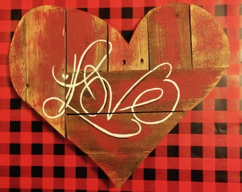 """Rustic """"Love"""" Heart Sign"""