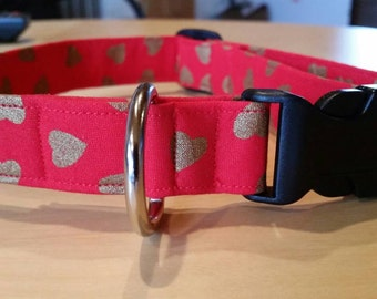 Red Dog and Puppy Collar with Shimmering Gold Hearts, Valentine's Day Collar, Martingale and Regular Styles Available in Several Widths