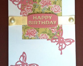 English country rose & butterfly birthday card