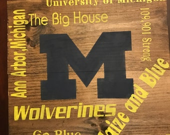 University of Michigan Wood Sign