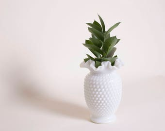Mid Century Fenton Hobnail Milk Glass Vase
