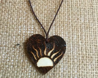 Wooden heart shaped sunset pyrography pendant