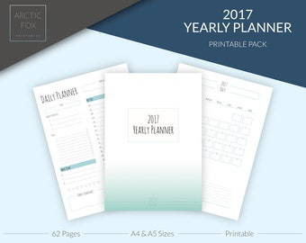 Ultimate 2017 Yearly Planner - Printable - Organiser - Calendar - ArcticFoxPrintables