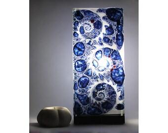 "Table lamp, desk or cast glass ""Nautilius"" hand painted desk"