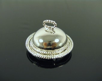 Dolls House Miniature Silver Plate with Lid