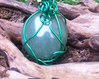 Wire wrapped Jade pendant