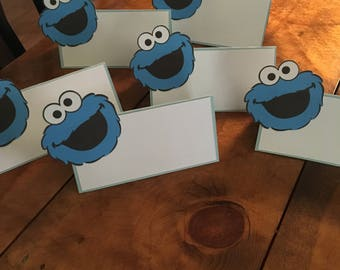 12 Sesame Street Cookie Monster Place Food Tent Cards
