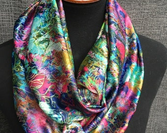 Colorful Scarf, Rainbow Scarf, Patterned Circle Scarf, Rainbow Infinity Scarf, Tye Dye Scarf, Fashion Scarf, Unique Scarf, Floral Scarf