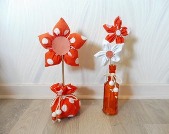 Fabric flowers - set of 2 home decorations - orange and white