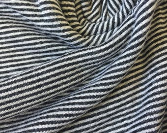1.5 Yards Knit Fabric, Jersey Knit Fabric, Fabric by the Yard, Stretch Fabric, Stripe Fabric - Mini Black and White Stripes