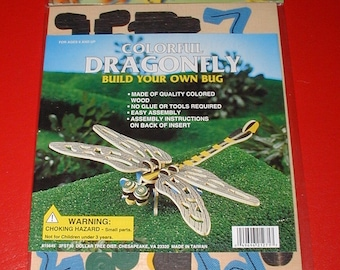 Wooden 3D puzzle colorful Dragonfly build your own bug vintage kids toy collectible rare