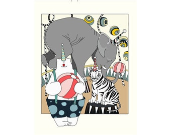 BOKETTO CIRCUS Poster size 16x24 print from original graphic