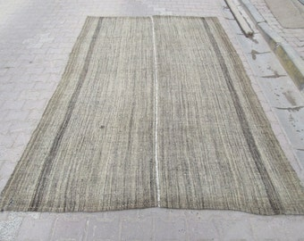 6.8x10 Ft Vintage handwoven modern Turkish kilim rug