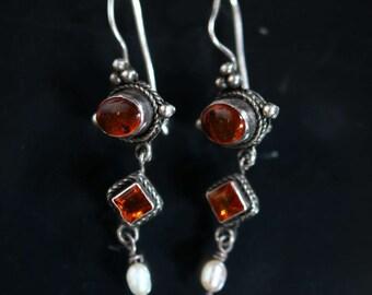 Vintage Amber Pearl Silver Dangle Earrings 2216