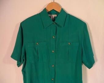 90s Anna And Frank blouse// Vintage aqua green blue minimalist basic button down short sleeve shirt// Women's size medium