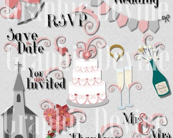 Pink Swirl Wedding Set of Clipart Images and Text - by Graphic Devine