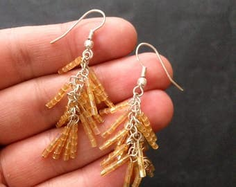 Vintage Champagne Colored Drop Bead Earrings