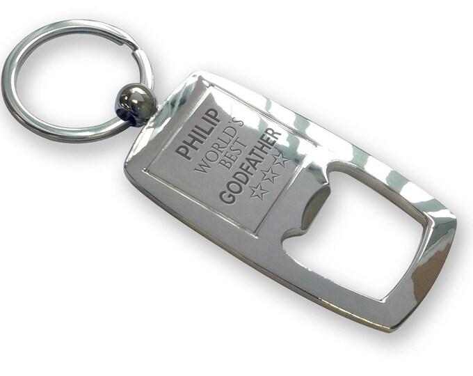 Personalised engraved World's Best GODFATHER bottle opener keyring gift, keepsake baptism birthday - FWB8