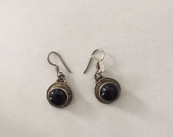 Onyx silver earrings.