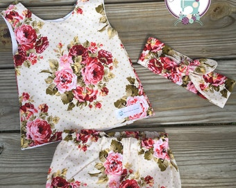 Vintage Rose Top and Bloomer set with matching Headband, Birthday Set, Toddler outfit