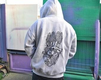 Joefur: RaveAid Hoodie. Grey w/ Black Print.  (All profits to charity)