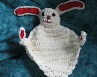 Handmade Crocheted Snuggle Bunnies with Satin Acents