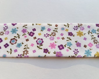 Cream with Purple, Aqua & Olive Green Floral Bias Binding 25mm Tape Fantasia