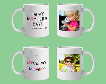 Custom Printed 11 oz. Ceramic Coffee Mugs. Mother's Day, Wife, Friend, Birthday, Anniversary, Christmas, Boss, Business. Printed Both Sides.