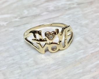 big sale solid 10k gold ladies i love you ring ladies gold love ring