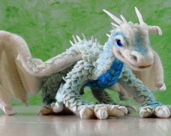 Needle felted dragon - Ice dragon - Needle felted animals - Interior doll - Soft sculpture - Gift for him - Collectible dolls - Felt doll