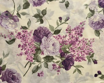 cabbage rose fabric, english roses fabric, rose fabric, purple rose fabric, purple fabric, floral fabric, flower fabric, vintage fabric