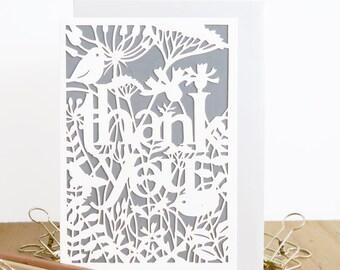 Thank you papercut card, Gratitude Papercut card, Thank you card pack, Thank you card set, Merci card, Ever so grateful card