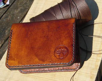 Small wallet. Handmade leather slim wallet. mens. womens.