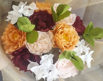 handmade crepe paper flower bouquet,wedding flowers,bridal,braidsmaid,unique fleurs,peonies,hydrangea,dahlia,juliet roses,forever flowers
