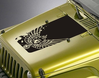 Jeep Wrangler Blackout Hood Decal Sticker - Piston Wings Design