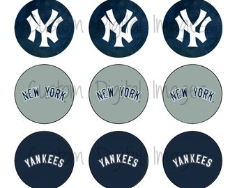 "INSTANT DOWNLOAD New York Yankees Bottle Cap Image Sheet | Digital Image Sheet | 4""x6"" Sheet with 15 Images"