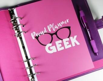 A5 Planner Dashboard, Proud Planner Geek Dashboard, Geek Glasses, Pink Dashboard, HSDB04 A5