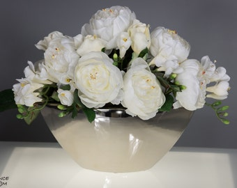 Artificial flower arrangement silk flower arrangement centerpiece - perfect gift for birthday, mothers day wedding, home warming, decor