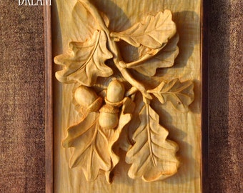 "Woodcarving in a frame ""OAK"", handcarved art wall from limewood 33x22 cm"