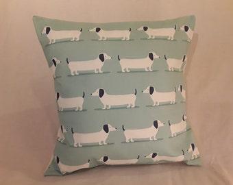 "Sausage Dog Cushion (Pastel Duck Egg Blue Sausage Dog Dachshund Print 16"" Cushion)"