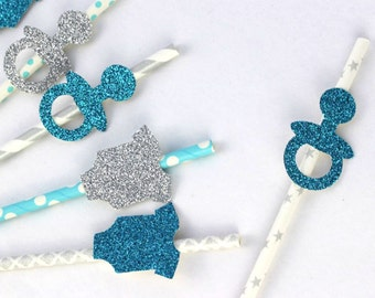 Baby shower- Boys Christening Straws- Glittery Light Blue and Glittery Silver