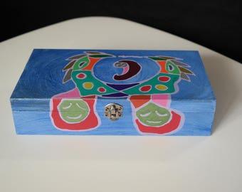 Handpainted wooden chest blue